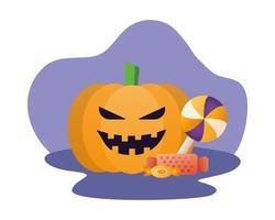 halloween pumpkin face with candies vector