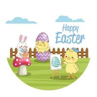 happy easter seasonal card with chicks and rabbit in the field vector