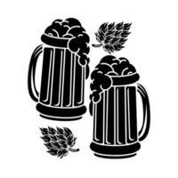 Cervezas tazas con hojas silueta icono vector