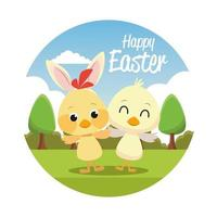 happy easter seasonal card with little chicks in park vector