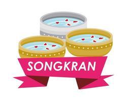 bowl with water and songkran ribbon vector