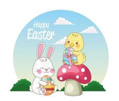 happy easter seasonal card with chick and rabbit on mushrooms vector