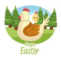 happy easter seasonal card with hen and little chick vector