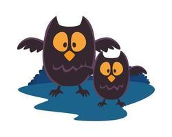 halloween owls isolated icon vector