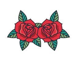 beautiful roses flowers garden decorative icon vector