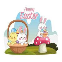 happy easter seasonal card with rabbits and little chick in park vector