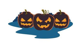 halloween pumpkins with faces icons vector