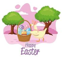 happy easter seasonal card with eggs painted in basket and duck vector