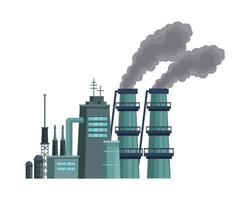 factory with polluting chimneys scene vector