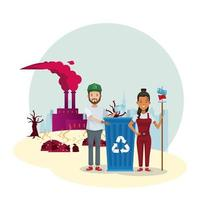 couple of environmentalists with factory polluting vector