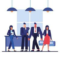 Teamwork concept with businesspeople in the office vector