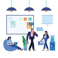 women and man in the office vector design