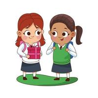 cute little girls with gift avatars characters vector