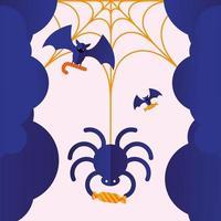 araña de halloween con diseño de vector de caramelo