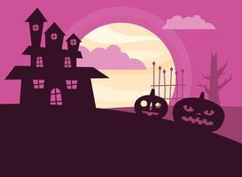 Halloween pumpkins and haunted house vector design
