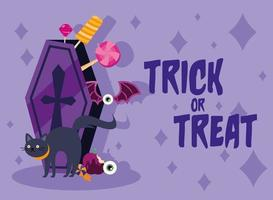 Trick or treat candies inside of a coffin and black cat vector design