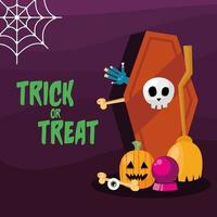 Trick or treat banner with coffin and pumpkin vector design