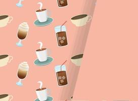 iced coffee glasses and cups background with space for text vector design
