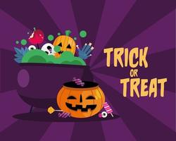 Trick or treat candies inside a cauldron vector