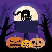 Calabazas de Halloween y gato en un diseño de vector de señal