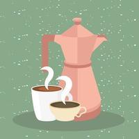 Tazas de café y olla sobre fondo verde diseño vectorial vector