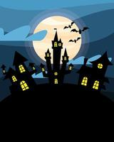 Halloween haunted houses with bats at night vector design