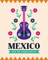celebración del día de la independencia de méxico con guitarra vector