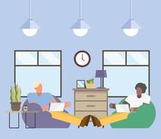 Men with laptop working from home vector design