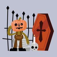 dibujos animados de calabaza de halloween con diseño de vector de ataúd