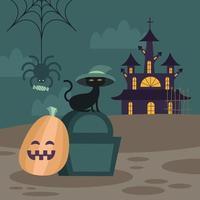 Halloween cat on grave and pumpkin vector design