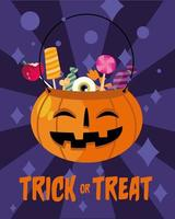 Trick or treat candies inside a pumpkin vector design