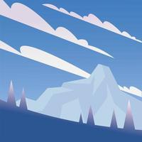 pine trees and snow mountain background vector
