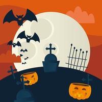 calabazas de halloween en un diseño vectorial de cementerio vector
