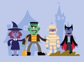 Halloween celebration characters vector