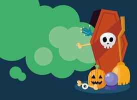ataúd de halloween con banner de calabaza vector