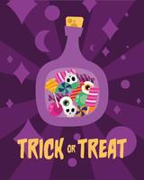 Trick or treat candies inside of a bottle vector design