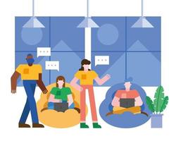 Coworking concept with man and woman vector