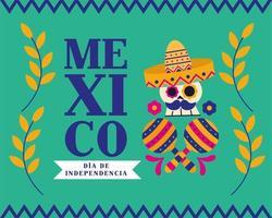 celebración del día de la independencia de méxico con calavera vector