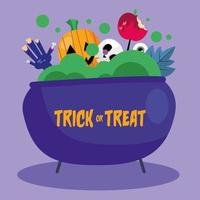 Trick or treat pumpkin, zombie hand and skull in a cauldron vector