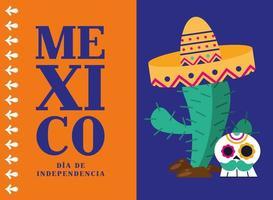 celebración del día de la independencia de méxico con cactus vector
