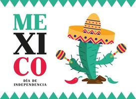 Independence day of Mexico celebration with cactus vector