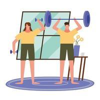 mujer y hombre, levantar pesas, en casa, vector, diseño vector