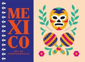 celebración del día de la independencia de méxico con máscara de lucha libre vector