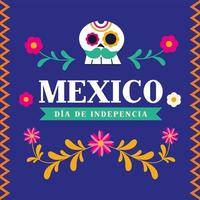 Independence day of Mexico celebration with skull vector