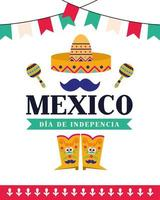 Independence day of Mexico celebration with sombrero vector