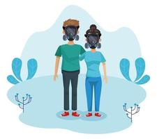 couple of environmentalists with masks characters vector