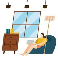 woman with laptop at home vector design