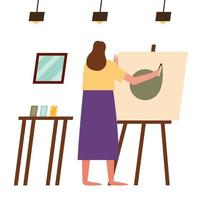 woman painting at home vector design