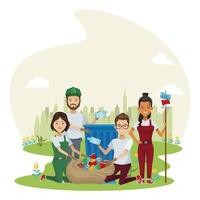 group of environmentalists recycling characters vector