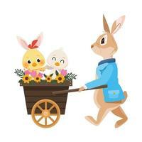 cute little rabbit easter character